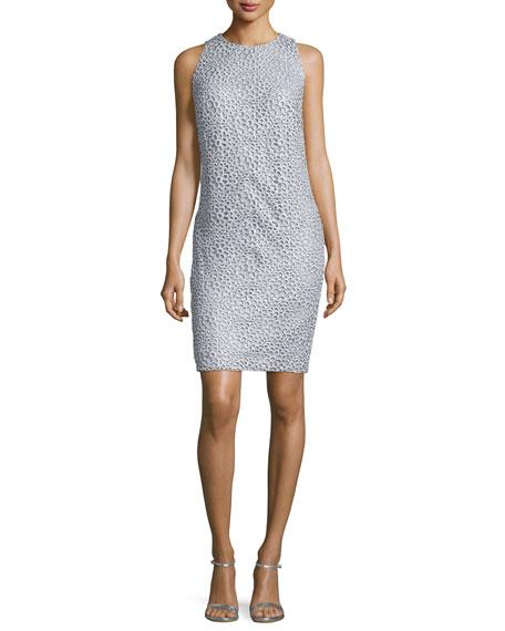 Carmen Marc Valvo Sleeveless Lace Sheath Dress, Silver