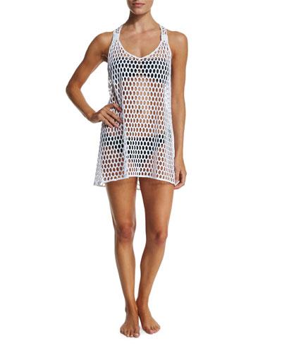 Honeycomb-Mesh Sleeveless Tunic Coverup