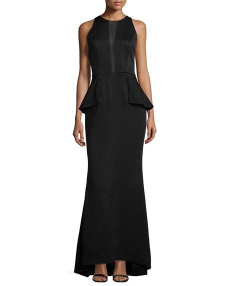 Carmen Marc Valvo Sleeveless Peplum Gown W/Sheer Inset,