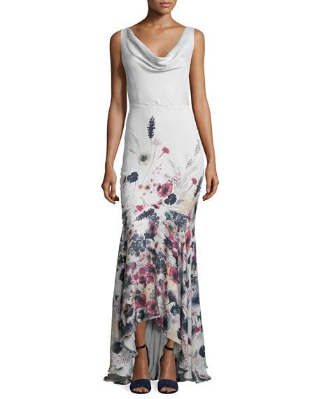 Haute Hippie Sleeveless Cowl-Neck Floral-Print Gown, Anti