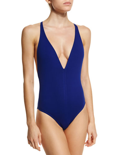 Plunge-Neck One-Piece Swimsuit