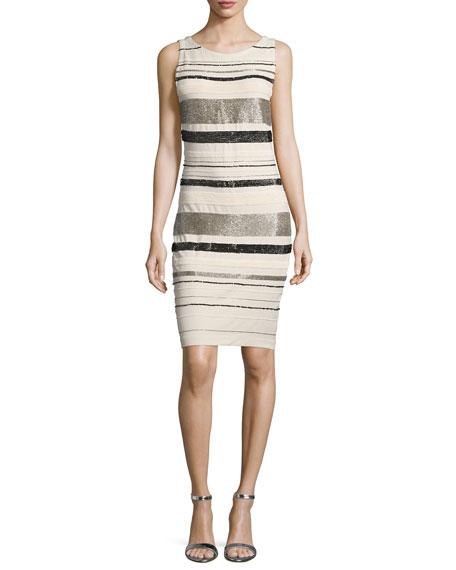 Haute Hippie Embellished-Striped Sheath Dress, White
