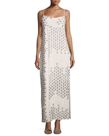 Haute Hippie Ombre Embellished-Striped Gown, White