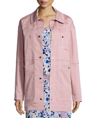 Stretch Cotton Twill Jacket, Pale Pink