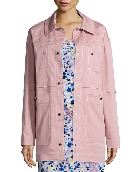 Kenzo Stretch Cotton Twill Jacket, Pale Pink