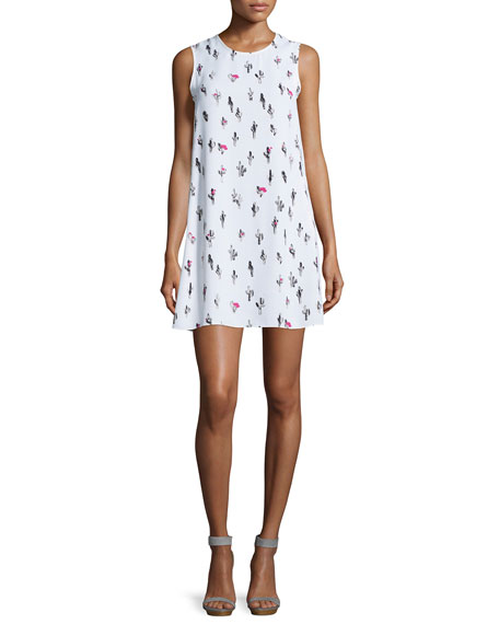 Kenzo Sleeveless Chiffon Cactus Shift Dress, White