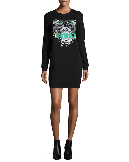 Kenzo Long-Sleeve Embroidered Tiger Sweaterdress, Black