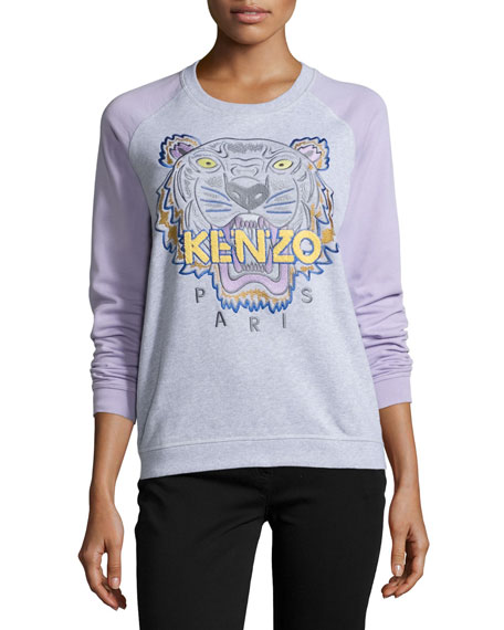 Cotton Raglan Tiger Sweatshirt, Light Gray