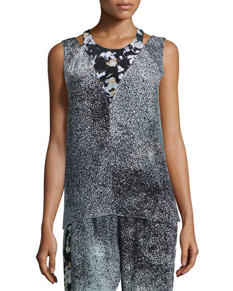 Kenzo Sleeveless Silk Illusion Top, Anthracite