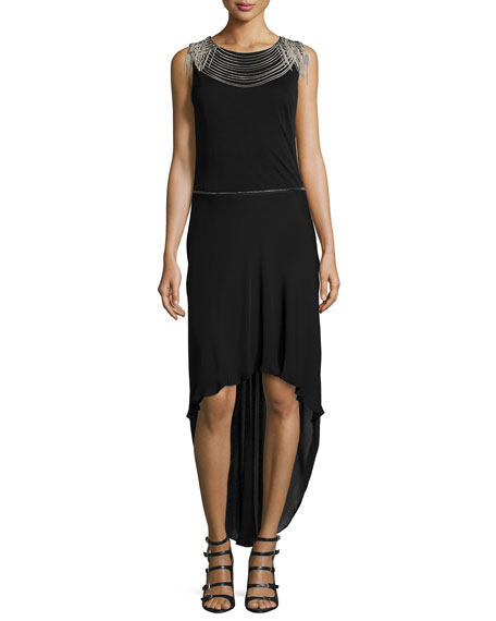 Haute HippieHigh-Low Gown W/Removable Skirt, Black