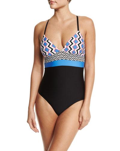 Multi-Print One-Piece Swimsuit