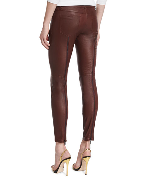 Low-Rise Leather Skinny Pants, Bordeaux