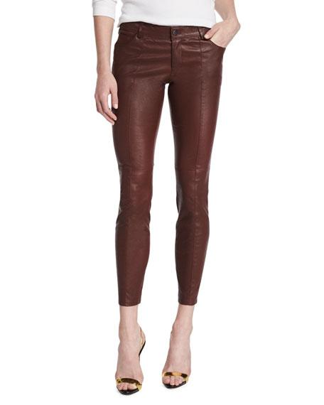 Haute Hippie Low-Rise Leather Skinny Pants, Bordeaux