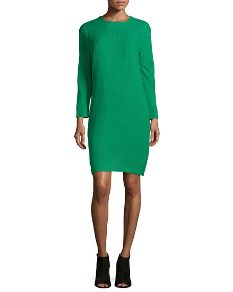 Risto Long-Sleeve Shift Dress, Green