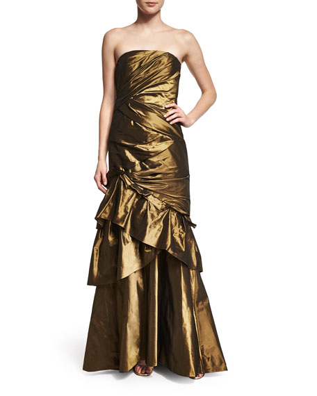 Carmen Marc Valvo Strapless Ruched Evening Gown W/Shawl,