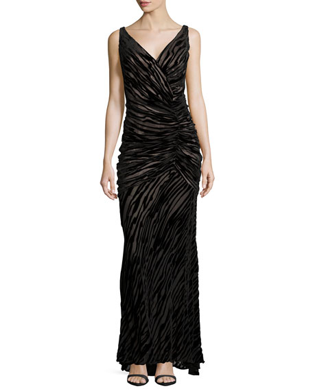Carmen Marc Valvo Sleeveless V-Neck Burnout Gown, Black/Nude