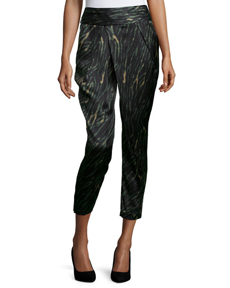Haute Hippie Crossover Slim-Leg Cropped Pants, Emerald/Multi