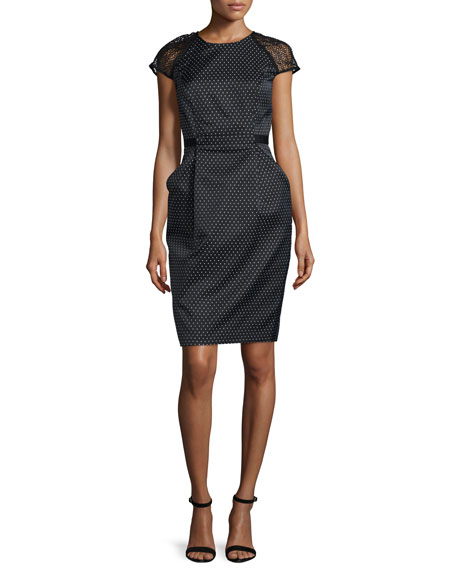 Carmen Marc Valvo Cap-Sleeve Swiss-Dot Sheath Dress, Black