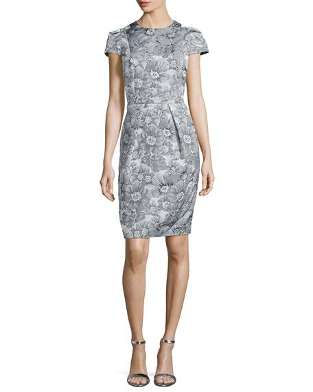 Carmen Marc Valvo Floral Jacquard Sheath Dress, Silver