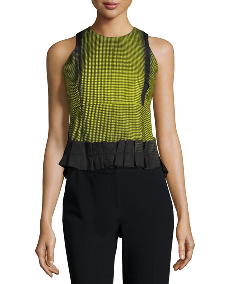 Risto Sleeveless Pleated-Hem Top, Poplin Curtain