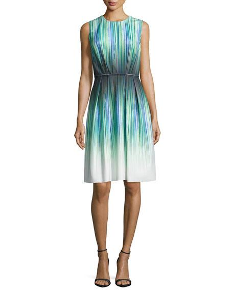 Carmen Marc ValvoSleeveless Striped-Ombre Cocktail Dress, Peridot