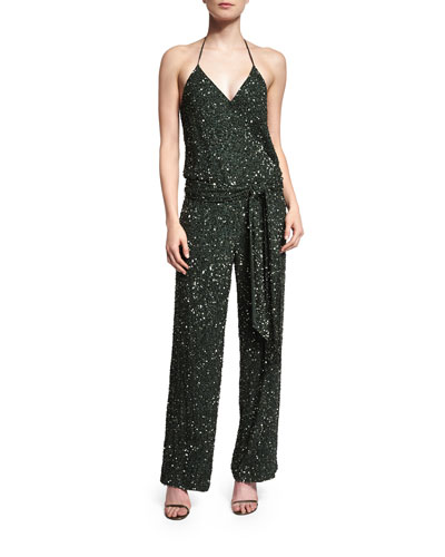 Haute Hippie Embellished Camisole Belted Jumpsuit. Emerald