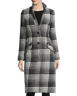 Plaid Knee-Length Coat