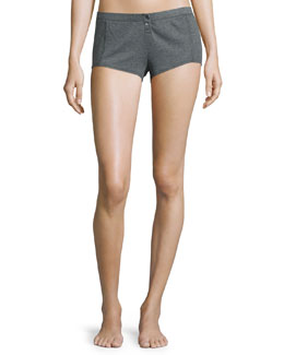 Henley Button-Front Boyshorts, Charcoal/Heather Gray