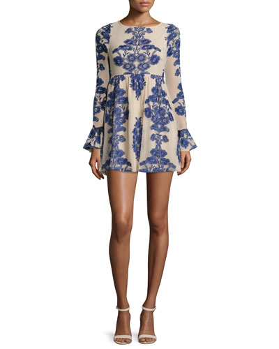 Temecula Floral-Print Mini Dress, Navy