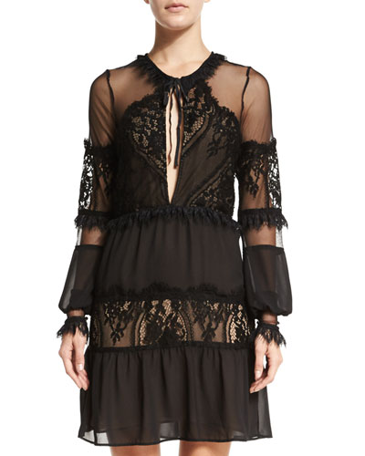 Alexa Lace-Inset Mini Dress, Black