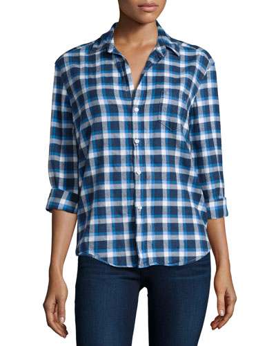 Eileen Button-Front Flannel Shirt, Blue Pattern