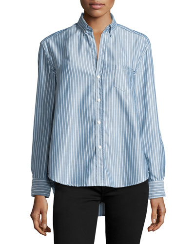 Eileen Button-Front Striped Shirt, Blue/White
