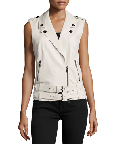 Double-Belted Leather Moto Vest, Swan