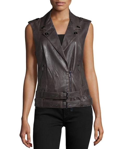 Haute Hippie Double-Belted Leather Moto Vest, Graphite
