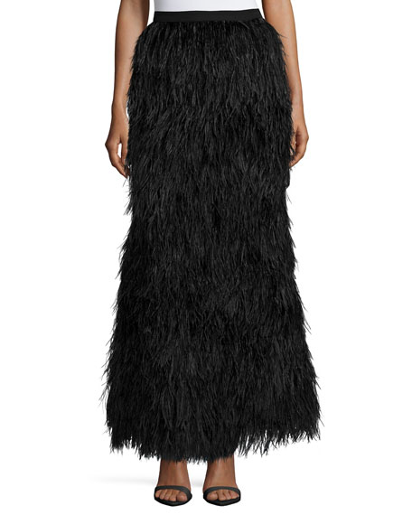 Haute Hippie Feathered Mermaid Skirt, Black