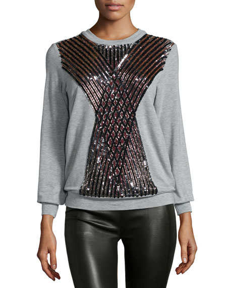 Haute Hippie Embellished Crisscross Pullover, Light Heather Gray