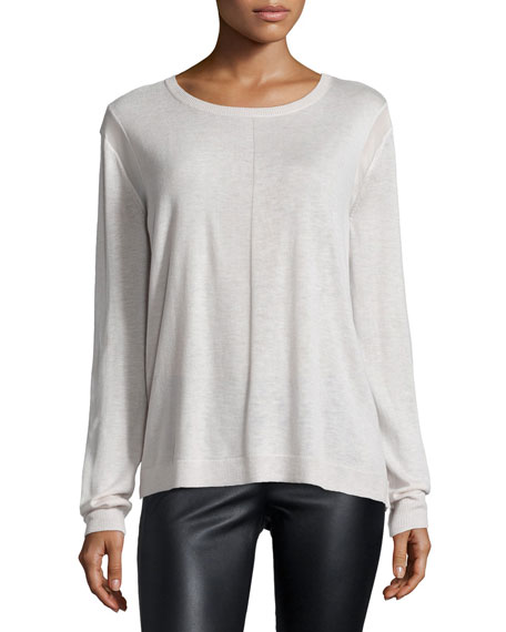 Halston Heritage Long-Sleeve Drape-Back Sweater, Dark Bone