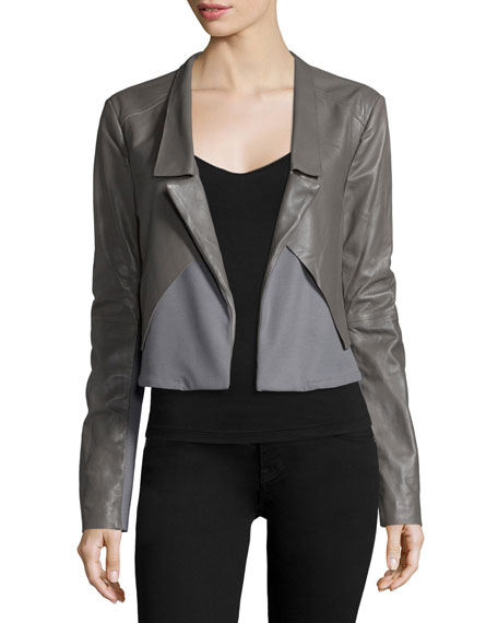 Halston Heritage Long-Sleeve Open-Front Combo Jacket, Charcoal