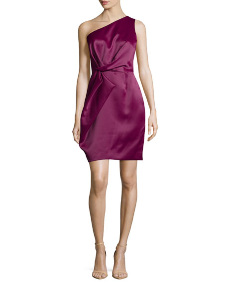 Halston Heritage One-Shoulder Pleated Dress, Boysenberry