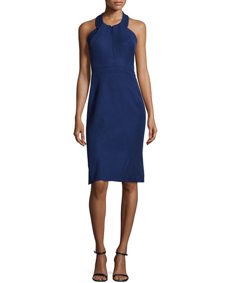 Zac Posen Halter-Neck Sheath Dress, Violet Blue