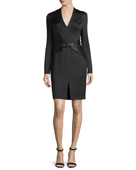 Halston Heritage Long-Sleeve Combo Sheath Dress, Black