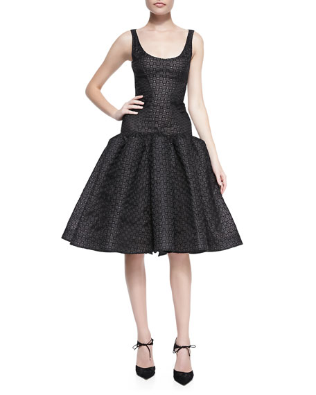 Zac Posen Sleeveless Dropped-Waist Dress