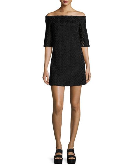 Tibi Lace Off-the-Shoulder Mini Dress, Black