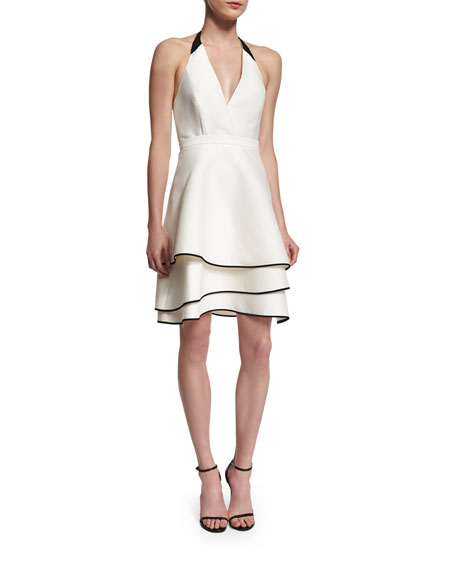 Halston Heritage Halter-Neck Fit-&-Flare Dress, Chalk/Black