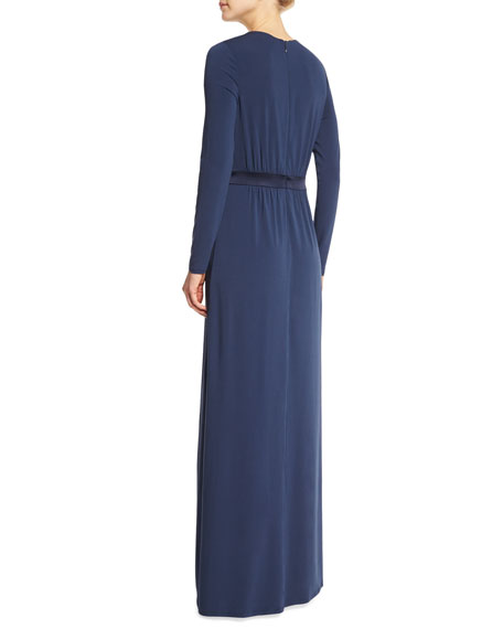 Long-Sleeve Gown W/Keyhole, Night Sky