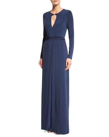 Halston Heritage Long-Sleeve Gown W/Keyhole, Night Sky