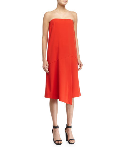 Draped Strapless Shift Dress, Scarlet Red