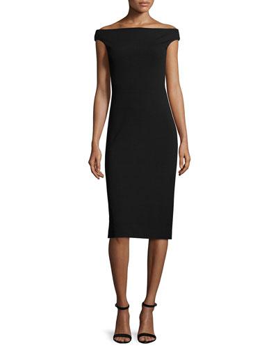 Ponte Off-the-Shoulder Midi Dress, Black