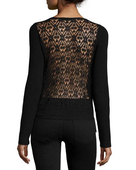 Long-Sleeve Sheer-Back Sweater, Black