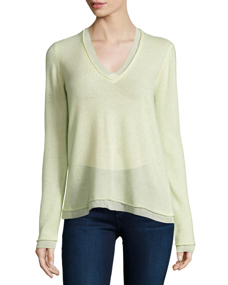 Long-Sleeve Cashmere Sweater, Pistachio